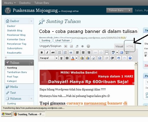 pasang-banner-di-blog klik HTML