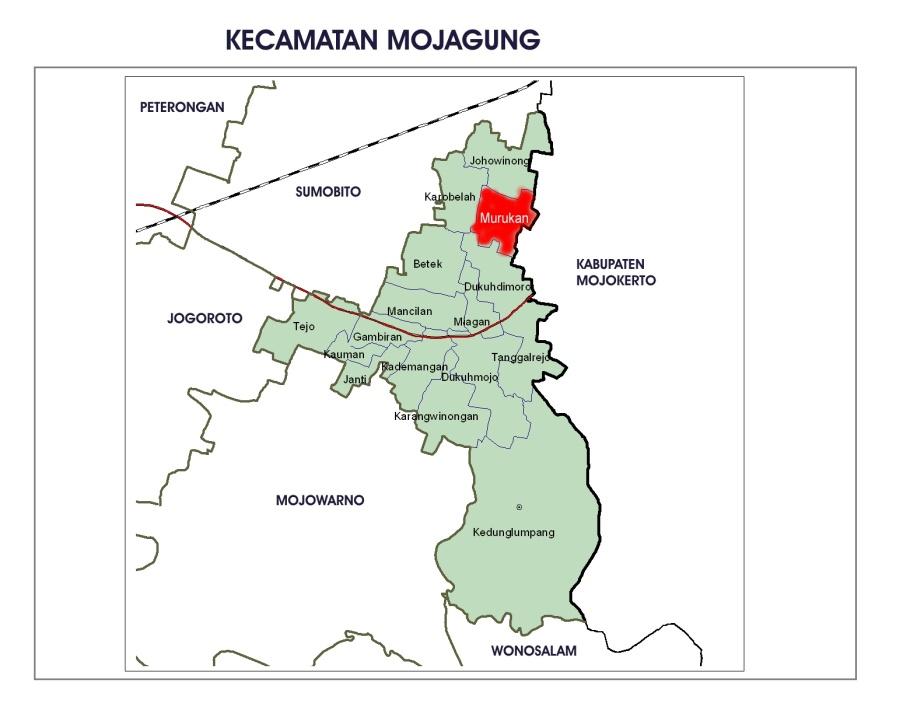 Lokasi desa Murukan di Kec. Mojoagung